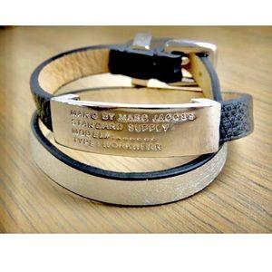 Marc Jacobs Black & Silver Leather Wrap Bracelet